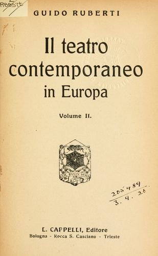 Il teatro contemporaneo in Europa.opa by Guido Ruberti