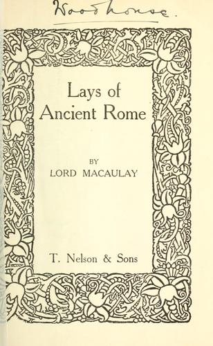 Lays of ancient Rome.